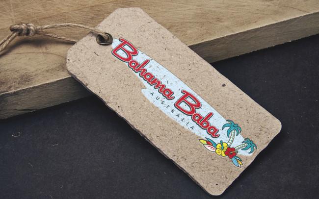 Bahama Baba clothing hangtag design