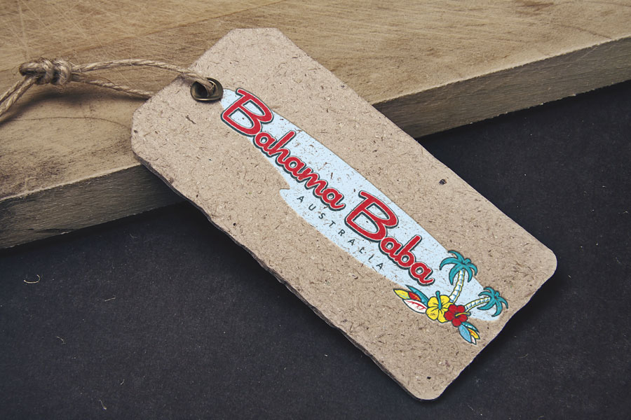 Bahama Baba clothing hangtag design