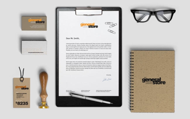 General Store branding and stationery graphic design Perth