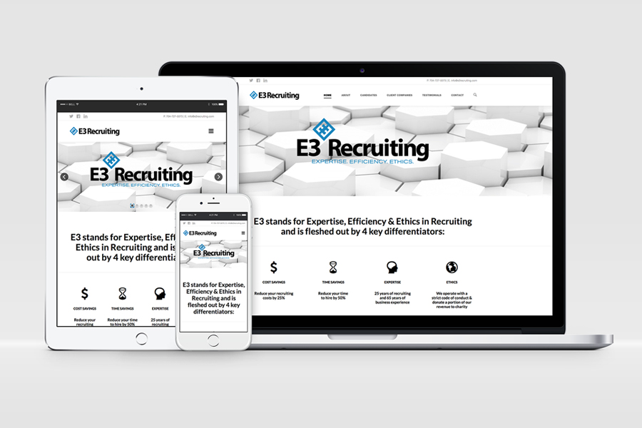 E3 Recruiting Mobile Friendly Responsive Web Site Design