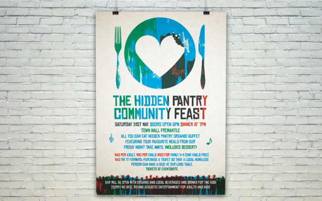 The Hidden Pantry Sustainable Brand & Logo Graphic Design Recycled Bag A4 Event Flyer