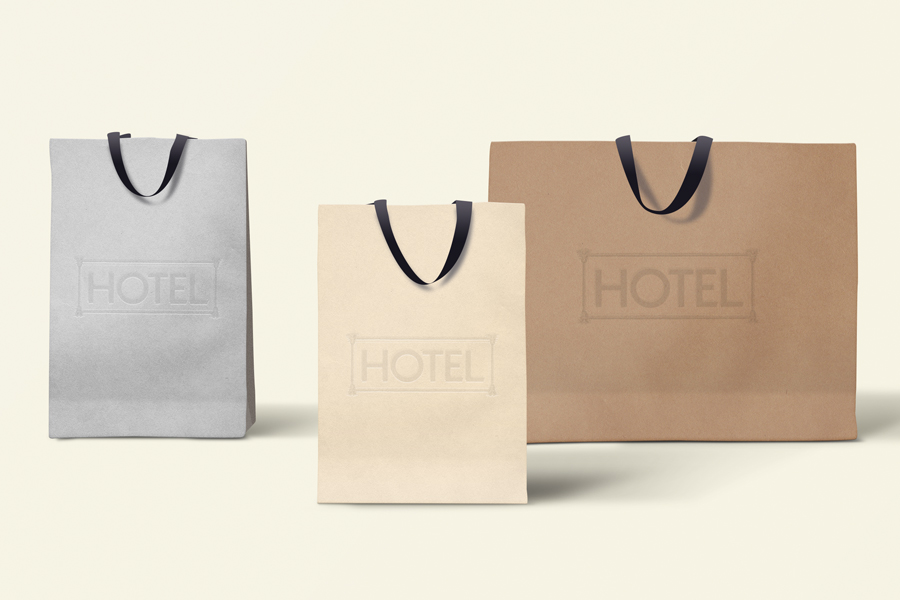Hotel Womens Luxury Resort Wear Brand Identity carry shopping bag graphic design