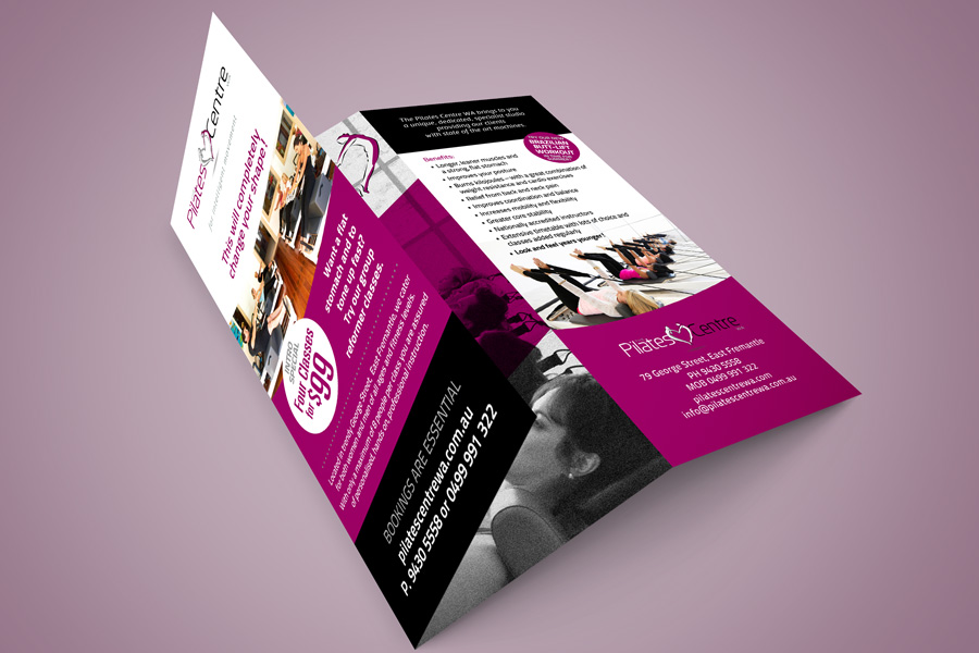The Pilates Centre WA Trifold Flyer Graphic Design Fremantle