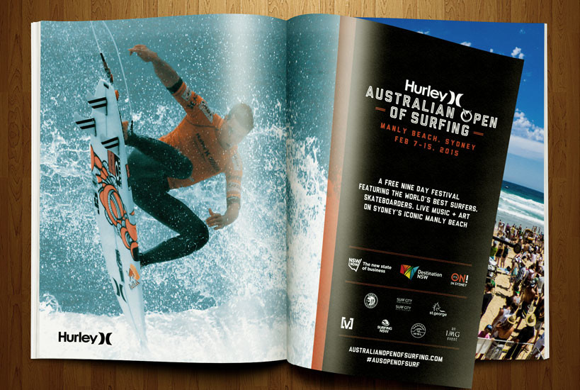 Australian Open of Surfing 2015 Magazine Advertising Graphic Design