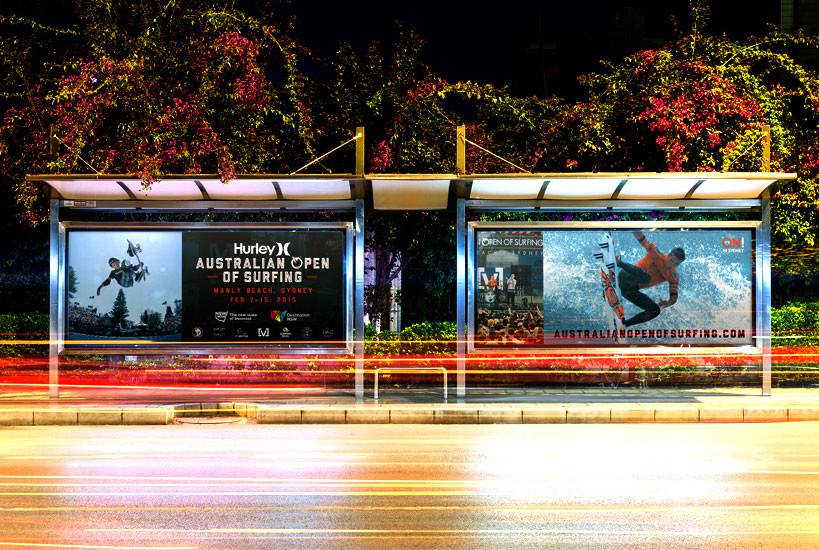 Australian Open of Surfing 2015 Digital Bus stop Billboard Designs