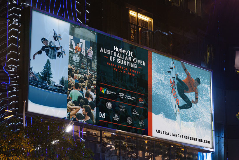 Australian Open of Surfing 2015 large Format Billboard Event Branding Graphic Design