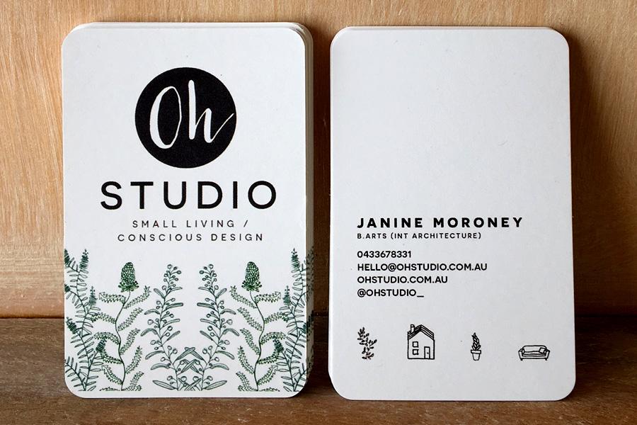 Oh studio illustrated logo business card design fremantle perth wa oh studio hand drawn branding logo zzdesign illustration services fremantle perth wa reheart Images