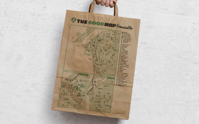 The Good Map Sustainability Eco Friendly Organic Stores & Services Guide Fremantle Shopping Bag Graphic Design