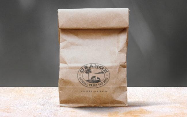 Grange Beef Butcher Brand Packaging Natural Raw Kraft Paper Bag Graphic Design & Illustration Fremantle Perth WA