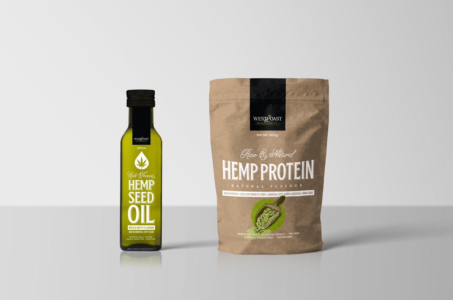 Wholefoods Natural Food Branding Graphic Packaging Design Coffee Hemp Seeds Pouch Oil Bottle Fremantle Perth WA