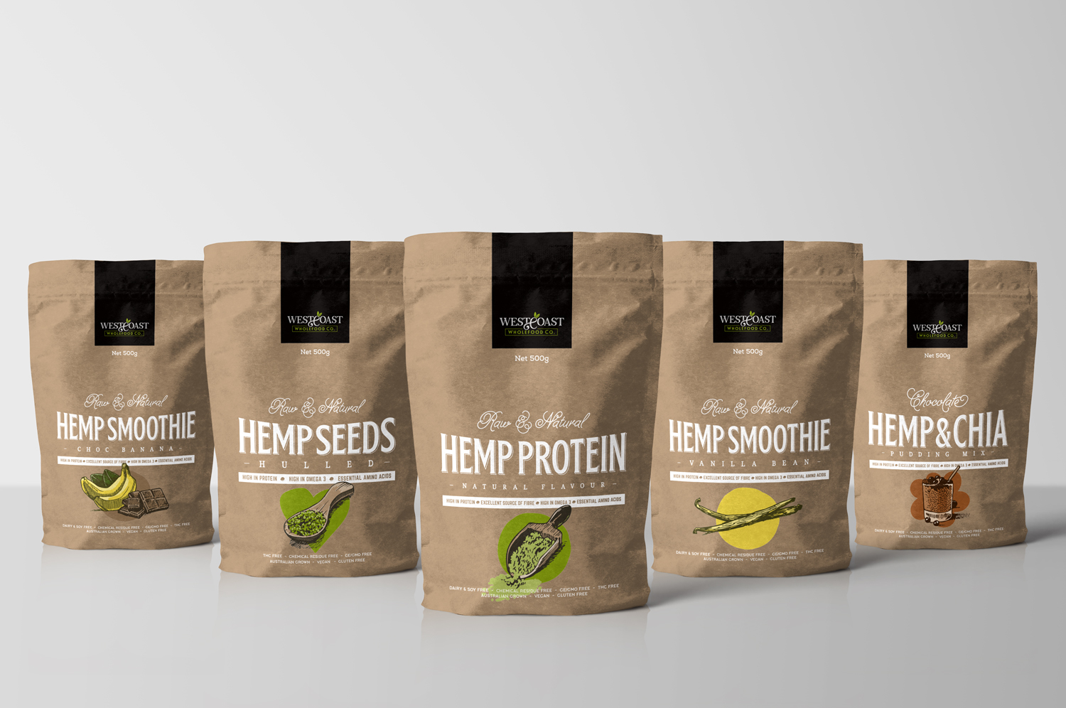 Wholefoods Natural Food Branding Graphic Packaging Design Coffee Hemp Seeds Protein Powder Pudding Pouches Fremantle Perth WA